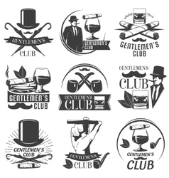 Gentlemen club label set vector