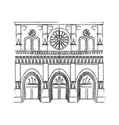 Notre dame cathedral paris icon image vector