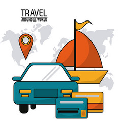 travel around the world vehicle car ship boat vector image