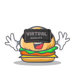 Burger character fast food with virtual reality vector