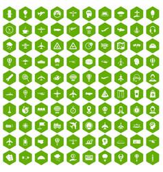 100 aviation icons hexagon green vector