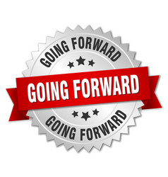 Going forward round isolated silver badge vector