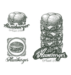 Burger icons labels signs symbols and design vector image