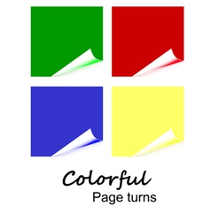 4 colorful page curls vector image vector image