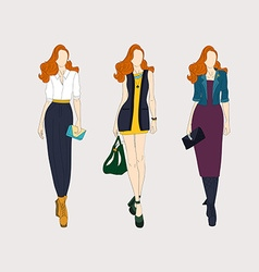 Hand drawn fashion girls vector