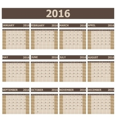 2016 calendar week starts from sunday vector