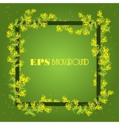Spring background with frame from sprig of mimosa vector