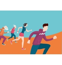 Marathon group of running people cartoon flat vector