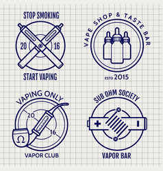 ball pen vape shop logo set vector image