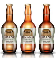 Beer bottles realistic product packaging vector