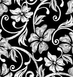 Black and white hibiscus tropical embroidery vector