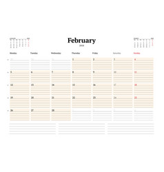 calendar planner template for 2018 year february vector image