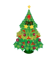 Candy canes and bow on christmas tree of maple vector
