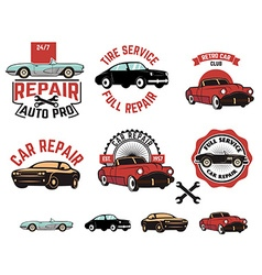 Car repair service labels vector image vector image
