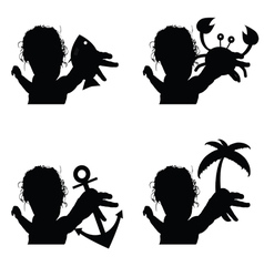 Child set silhouette with icon vector