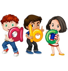 Children holding English alphabets vector image