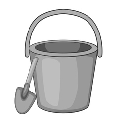 Childrens bucket with shovel icon vector