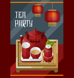 Colorful traditional tea ceremony template vector