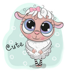 Cute sheep girl on a blue background vector