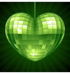 Disco heart green mirror disco ball vector