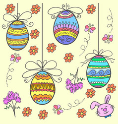 Doodle of easter egg with flower design vector