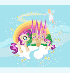 Fairytale frame with castle and unicorns vector
