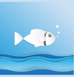 Fish on ocean wave paper art style vector