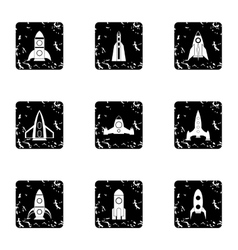 Flight in cosmo icons set grunge style vector