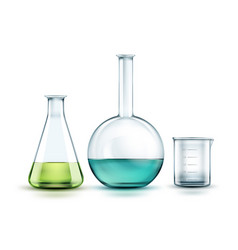 glass laboratory flasks vector image vector image
