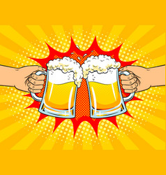 Hands with mugs of beer pop art vector