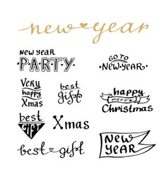 New year handwritten lettering set for cards and vector
