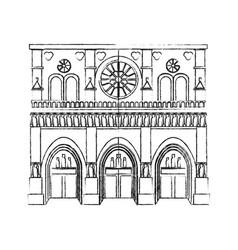 notre dame cathedral paris icon image vector image vector image