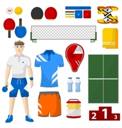 Ping pong icons set ping pong sport equipment and vector