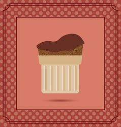 Red candy card with a chocolate cream cake frames vector image vector image