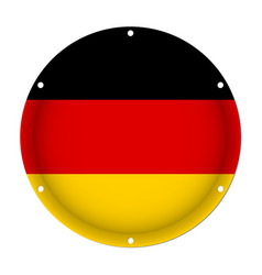 Round metallic flag of germany with screw holes vector