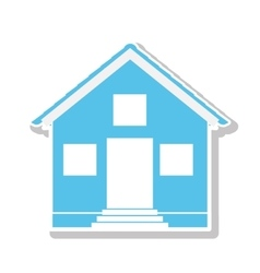 Silhouette with blue house one floor vector