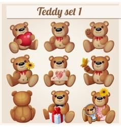 Teddy bears set Part 1 Cartoon vector image