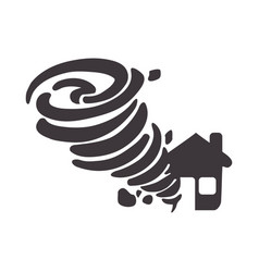 tornado taking and destruction a house vector image