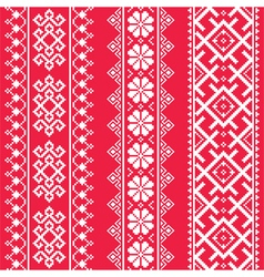 Ukrainian belarusian white embroidery seamless pa vector