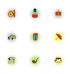 United Kingdom icons set pop-art style vector image vector image