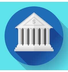 white bank building icon with long shadow Flat vector image vector image