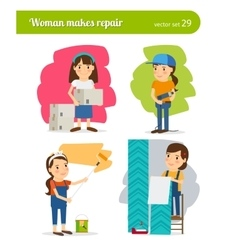 Woman making repairs vector image