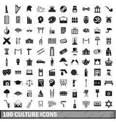100 culture icons set simple style vector