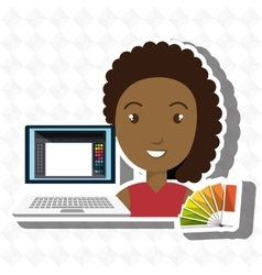 Woman chart color pc vector