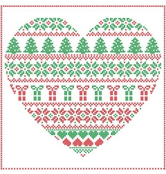 Pattern cross stitch heart shape in green and red vector image