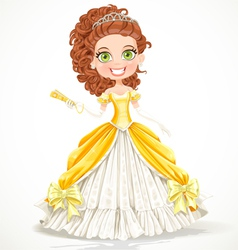 Beautiful princess in a yellow ball dress vector