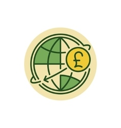 Pound money transfer flat icon vector