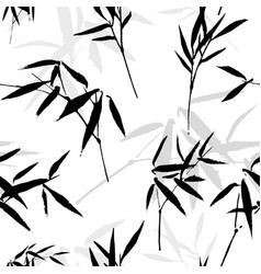 Ink drawing seamless pattern with a bamboo vector