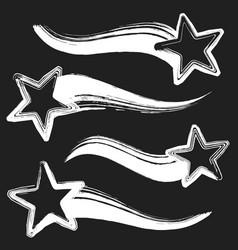 grunge set of shooting stars vector image