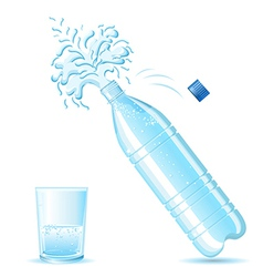 Bottle of mineral water splashing vector